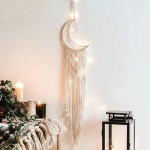 Hanging Macrame Moon Dreamcatcher W/Fairy Lights